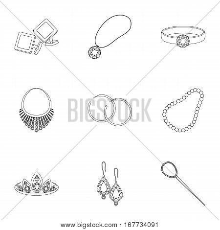 Jewelry and accessories set icons in outline design. Big collection of jewelry and accessories vector symbol stock illustration