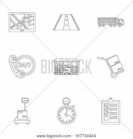 Logistic set icons in outline style. Big collection of logistic vector symbol stock