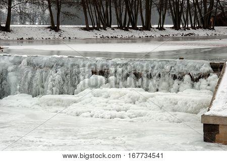 Small sluice on the River Morava in Litovel, Czech Republic, by winter
