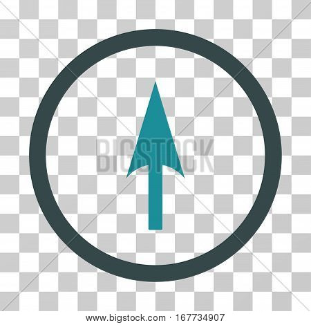 Arrow Axis Y rounded icon. Vector illustration style is flat iconic bicolor symbol inside a circle soft blue colors transparent background. Designed for web and software interfaces.