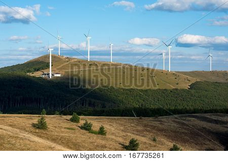 Wind Turbines.  Renewable energy. Obtaining electricity from wind. Preservation of nature.