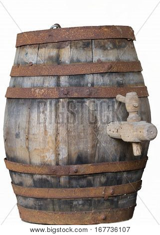 isoltated old wine barrel in the farm