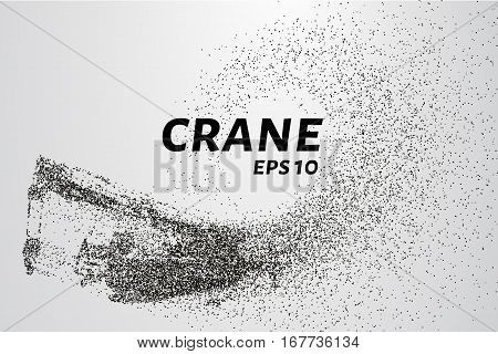 A crane of the particles. The crane consists of circles and points. Vector illustration.