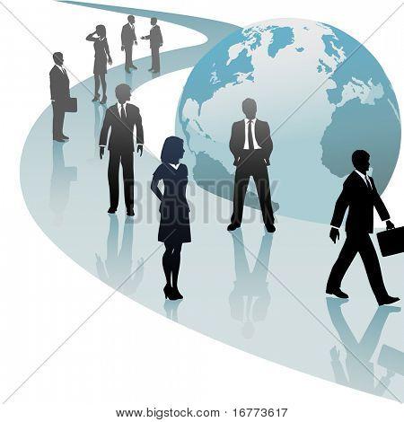 Group of international business people walk a future world path of progress.