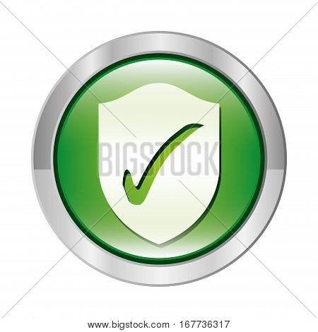 metallic circular button with shield inside with approval symbol vector illustration