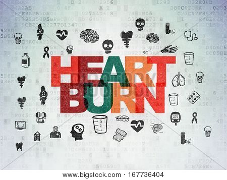 Medicine concept: Painted multicolor text Heartburn on Digital Data Paper background with  Hand Drawn Medicine Icons