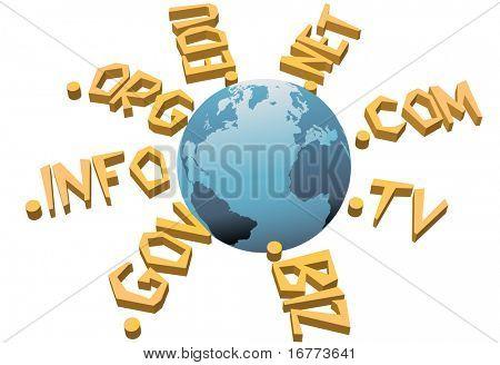 World top level URL internet WWW domain names circle Earth.