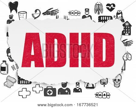 Medicine concept: Painted red text ADHD on Torn Paper background with  Hand Drawn Medicine Icons
