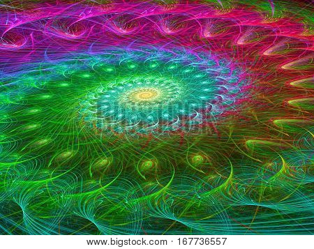 Intricate spiral - abstract computer-generated image. Fractal art: unusual colored helix of bright, randomly intertwined curves. For covers, web design, posters.
