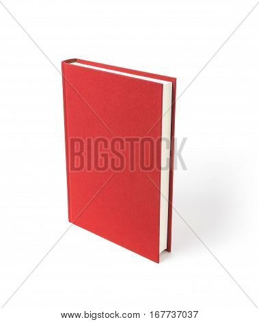 Red standing hardcover book isolated, perspective view