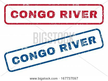 Congo River text rubber seal stamp watermarks. Vector style is blue and red ink tag inside rounded rectangular banner. Grunge design and dust texture. Blue and red signs.