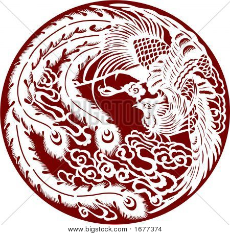 Phoenix In Paper Cut Style ( Vector )