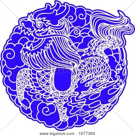 Chinese dragon Unicorn in Nagative style( Vector ) poster