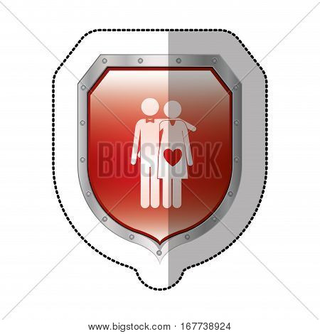 sticker metallic shield with pictogram husband and wife pregnant with heart in belly