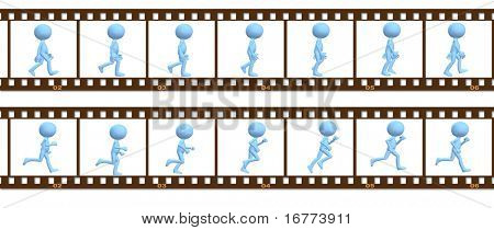 A 3D cartoon character people walk and run in a cel frame animation.