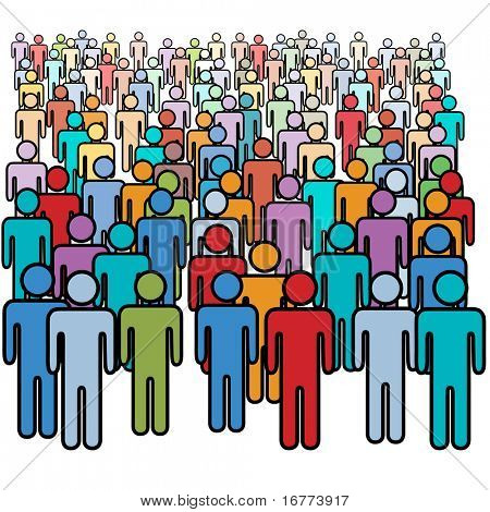 Eine große Vielfalt Menschenmenge bunte social-Media Strichmännchen.