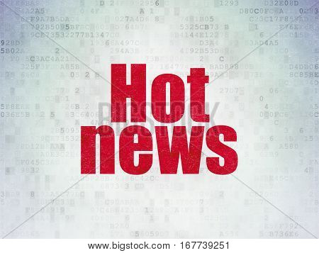News concept: Painted red word Hot News on Digital Data Paper background