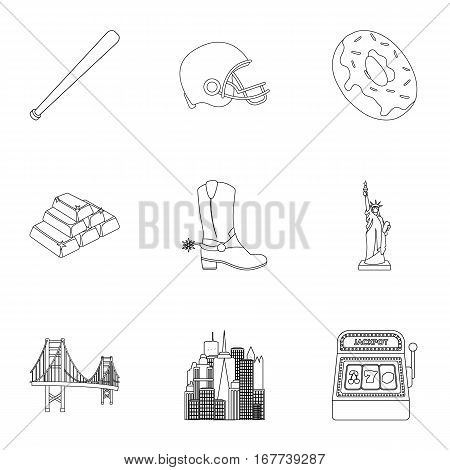 USA country set icons in outline style. Big collection of USA country vector symbol stock