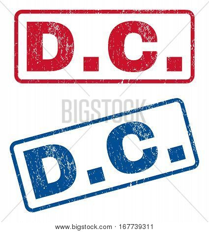 D.C. text rubber seal stamp watermarks. Vector style is blue and red ink tag inside rounded rectangular banner. Grunge design and dust texture. Blue and red signs.