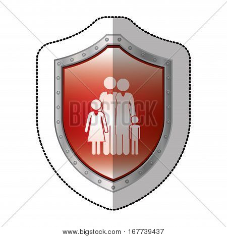 sticker metallic shield with pictogram of family nucleus vector illustration