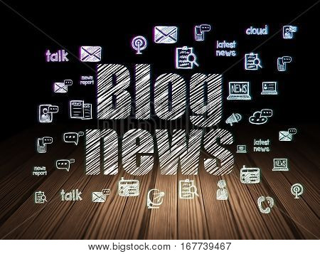 News concept: Glowing text Blog News,  Hand Drawn News Icons in grunge dark room with Wooden Floor, black background