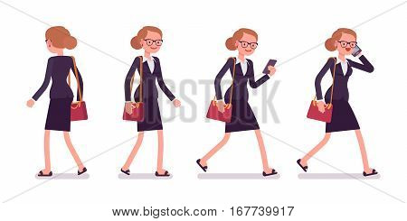 Set of young businesswoman in formal wear, walking poses, talking on phone, holding handbag, full length, front and rear view isolated against white background, successful manager on her way to office
