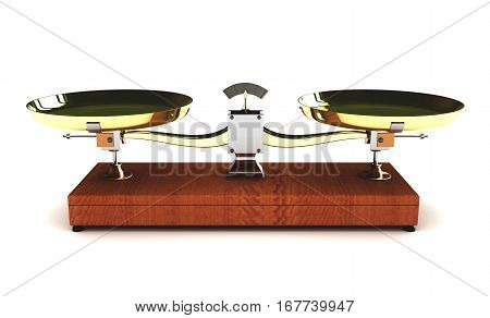 3d illustration of balance scales on white background