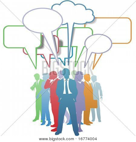 Group of colorful business people network and communicate in speech bubbles.