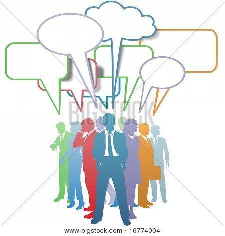 Gruppe von bunten Business-Menschen-Netzwerk und Kommunikation in Sprechblasen.