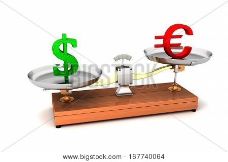 3d balance compare concept imbalance weight money