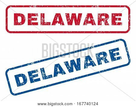 Delaware text rubber seal stamp watermarks. Vector style is blue and red ink caption inside rounded rectangular banner. Grunge design and unclean texture. Blue and red signs.