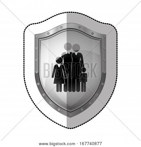sticler dotted metallic shield with black silhouette of family nucleus vector illustration