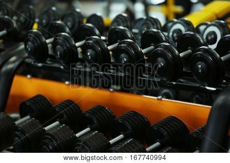 Rack with different dumbbells in gym, close up