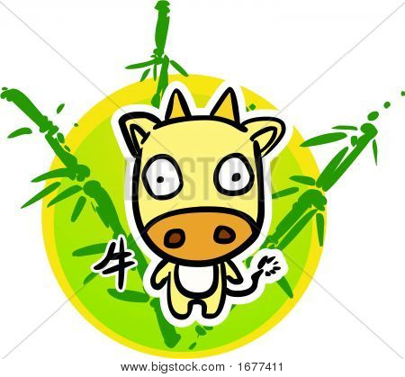Cartoon Chinese Zodiac - Cow nd bamboo background poster