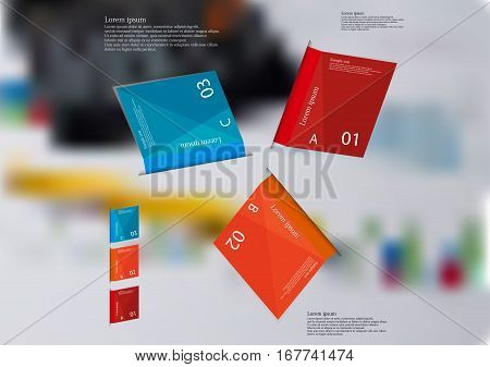 Illustration infographic template with motif of three folded color paper sheets with simple sign sample text and number. Blurred photo with financial motif with charts is used as background.