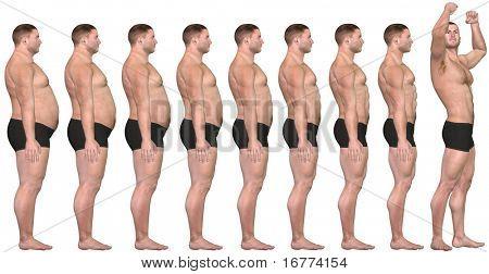 Ein Mann Diäten und Übungen aus Fett Fitness in, vor und nach der Reihe von 3D gerendert wird