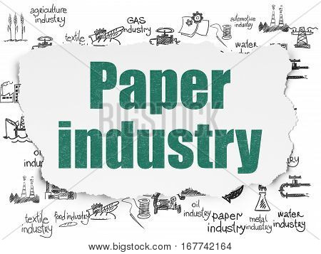 Industry concept: Painted green text Paper Industry on Torn Paper background with  Hand Drawn Industry Icons