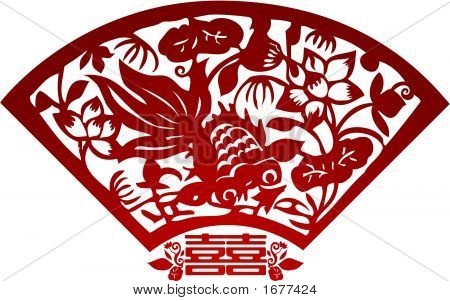 Gold Fish In Paper Cutting Style (Vector)