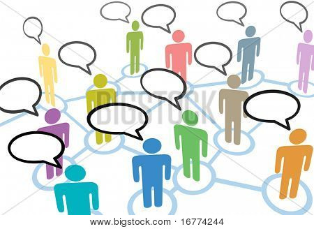 Um grupo de pessoas falar em mídias sociais, conexões de rede de comunicação de voz