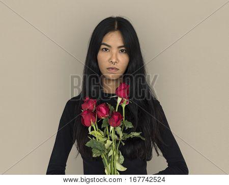 Young woman casual studio portrait crop-top