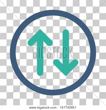 Flip rounded icon. Vector illustration style is flat iconic bicolor symbol inside a circle, cobalt and cyan colors, transparent background. Designed for web and software interfaces.