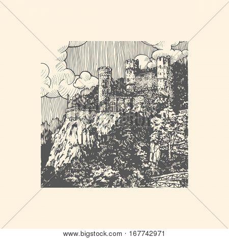Rheinstein castle on the Rhine River Germany Rhineland-Palatinate. Vintage engraved vector illustration.