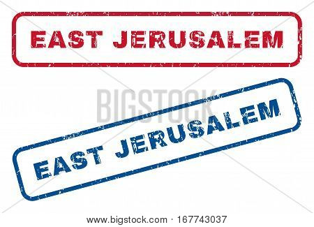 East Jerusalem text rubber seal stamp watermarks. Vector style is blue and red ink tag inside rounded rectangular shape. Grunge design and scratched texture. Blue and red signs.