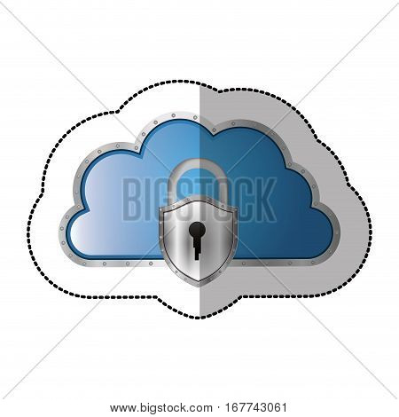 sticker metallic cloud tridimensional in cumulus shape with padlock vector illustration