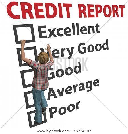 Verbraucher Schulden junge 3D Frau arbeitet, um ihre Kredit-Score Bewertung Bericht Aufbau