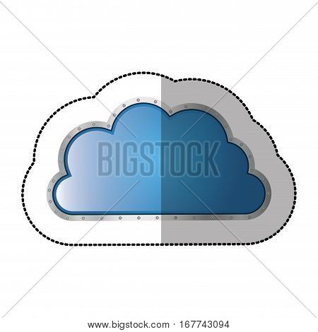 sticker metallic cloud tridimensional in cumulus shape vector illustration