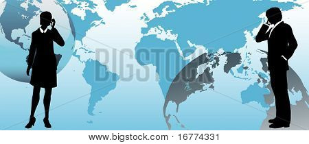 International business people communicate via global link on a connected world background