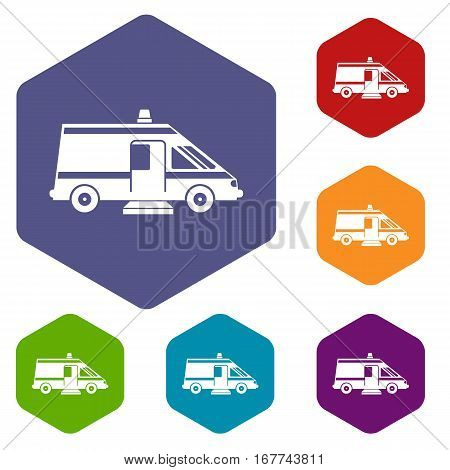 Ambulance icons set rhombus in different colors isolated on white background