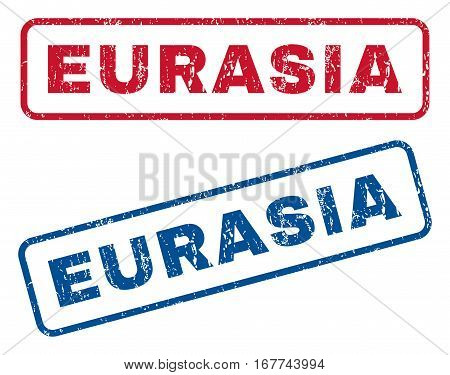 Eurasia text rubber seal stamp watermarks. Vector style is blue and red ink caption inside rounded rectangular banner. Grunge design and unclean texture. Blue and red emblems.