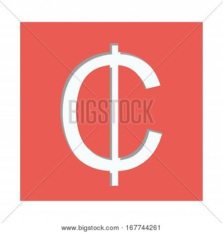 red square with currency symbol of cent vector illustration